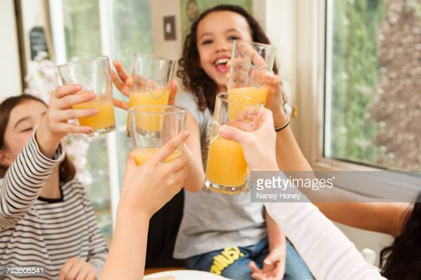 Girls making a toast with fruit juice