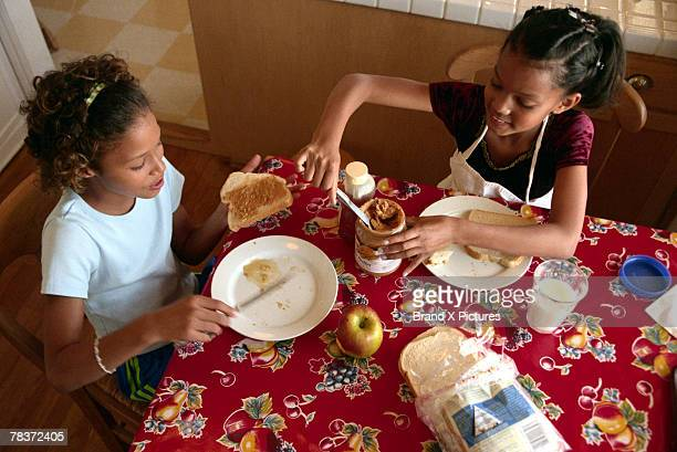 Girls making sandwiches
