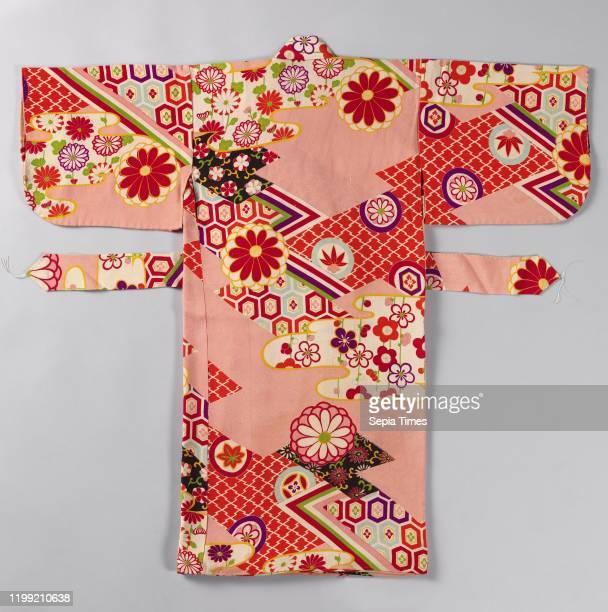 Girls miyamairi kimono with geometric and flower motifs, Formal kimono for a girl for the first visit to a Shinto shrine, with a decoration of...