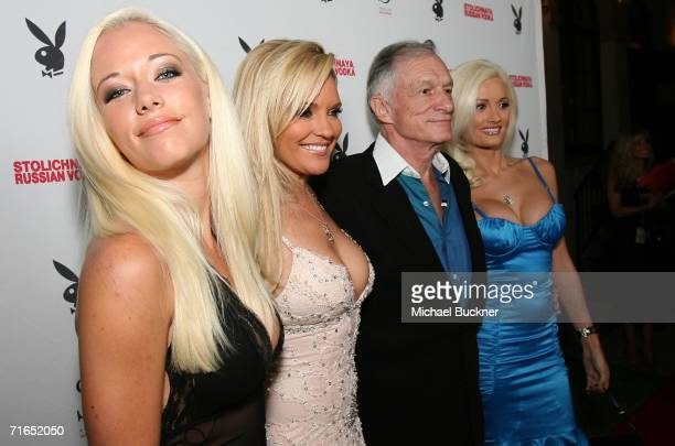 Girls Next Door Kendra Wilkinson Bridget Marquardt Playboy publisher Hugh Hefner and Girl Next Door Holly Madison attend Playboy and Stoli's...