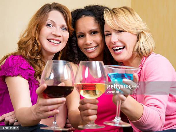Girls night in: three young women celebrating something