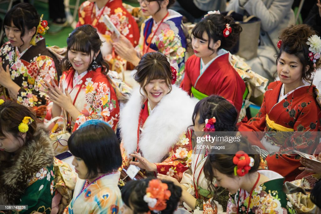 Girls of age seen wearing kimonos during the ceremony. 1.25... : News Photo