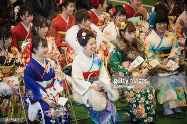Girls of age seen wearing kimonos during the ceremony 125 million People celebrated their passage into adulthood on the Coming of Age Day a Japanese...