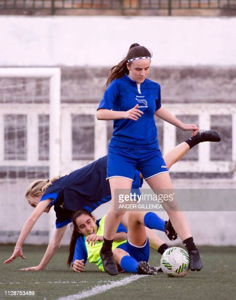 Girls of Anorga KKE football school attend a training session in the Spanish Basque city of San Sebastian on February 27 2019
