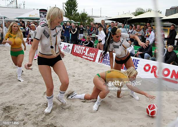 Girls of team Germany and Australia in action during a sexy soccer match between VisitX Camgirls and Blue Movie All Stars at Traumstrand on June 12...