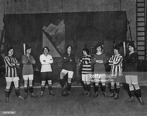 Girls of the Oxford Revue get ready to take part in a charity football match in March 1914