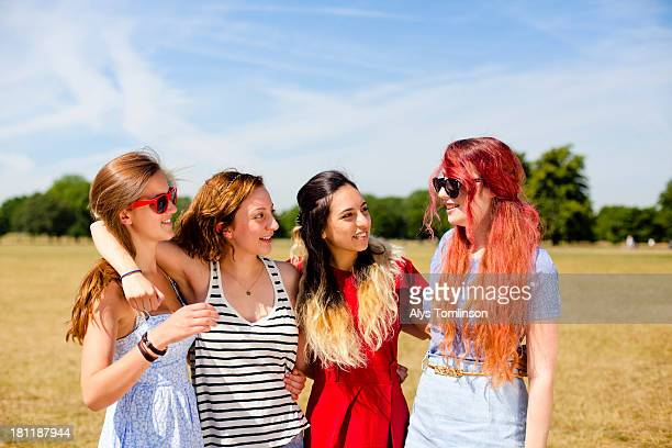 girls on a common enjoying the sun - only young women stock pictures, royalty-free photos & images