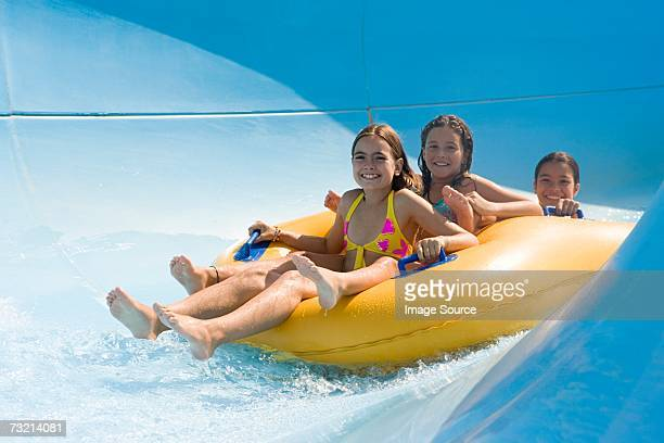 Girls on a water slide