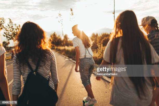 girls on a way from school - teenagers only stock pictures, royalty-free photos & images