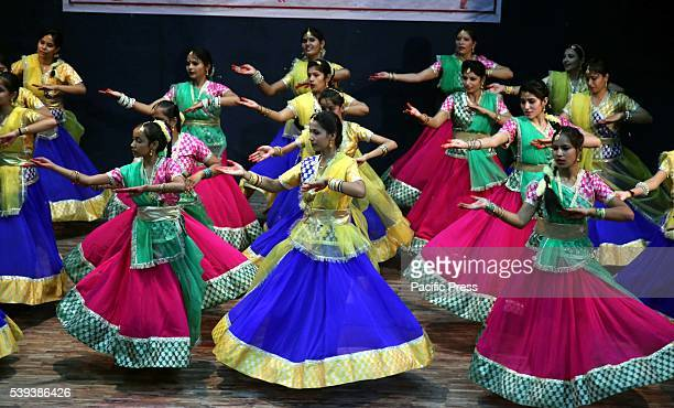 Girls participate in a closing ceremony of Kathak dance training camp organised by Rajasthan Sangeet Natak academy at mini auditorium in Jodhpur...