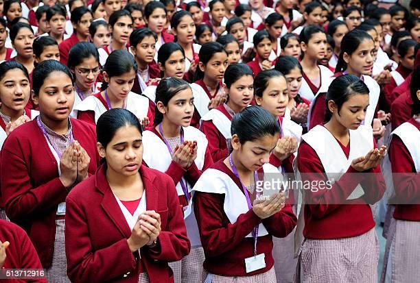 Girls participating in morning prayer meeting at Sarvodaya Kanya Vidyalaya school No 2 Zeenat Mahal Lal Kuan Chandni Chowk on January 16 2013 in New...