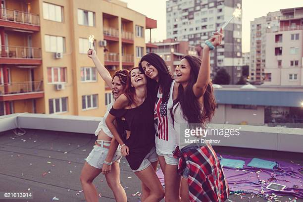 Girls partying on the rooftop