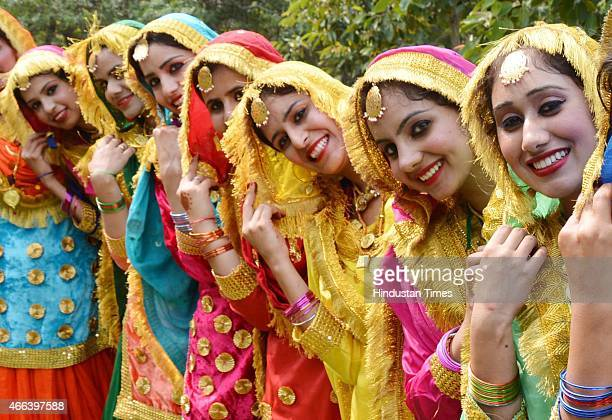 Girls perform 'Giddha' during the fourday interdepartmental cultural event Jashan 2015 at Guru Nanak Dev University onMarch 15 2015 in Amritsar India...