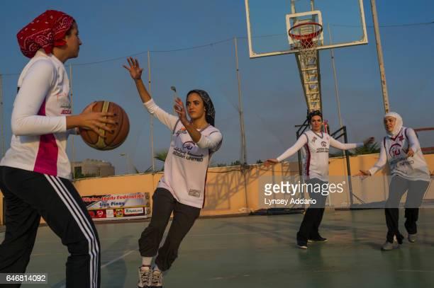 Girls play basketball in Jeddah Saudi Arabia on December 6 2014