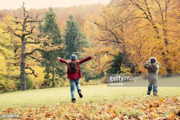 Meisjes spelen in het najaar park