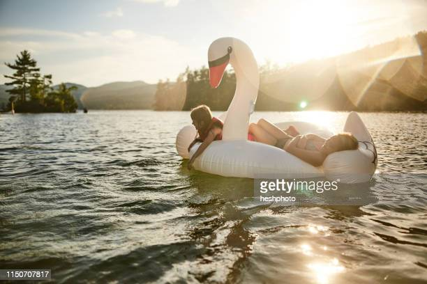 girls playing on inflatable swan in lake - heshphoto imagens e fotografias de stock