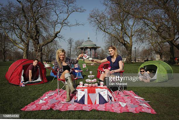 Girls pose during a photocall to promote the Big Royal Wedding Sleepover at 'Camp Royale' on Clapham Common on March 8 2011 in London England The...