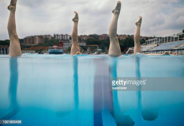 girls practicing - artistic swimming stock pictures, royalty-free photos & images