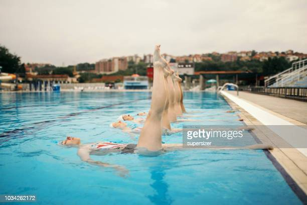 girls practicing - synchronized diving stock pictures, royalty-free photos & images