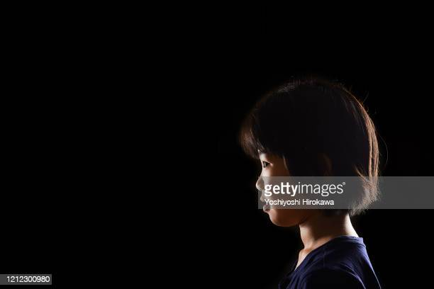 girl's profile - back lit stock pictures, royalty-free photos & images