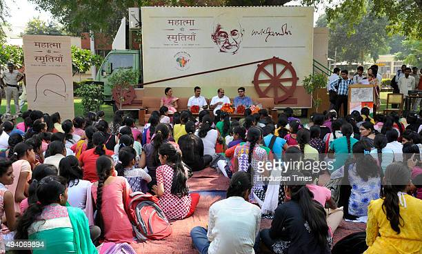 Girls queue up to see Mahatma Gandhi's mobile museum showcasing some memories of Mahatma Gandhi in Government College for women in Sector14 on...