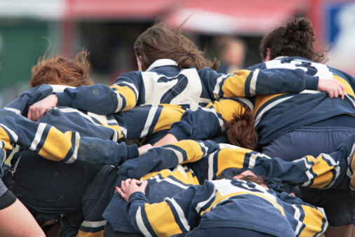 Girls rallying before a rugby game 92237644