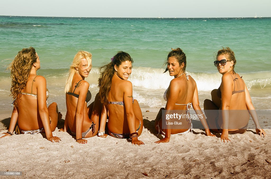 Girls Relaxing at the Beach : Stock Photo