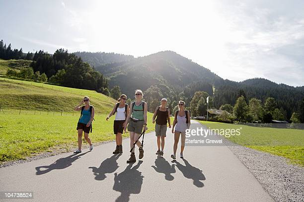 Girls returning from a long hike