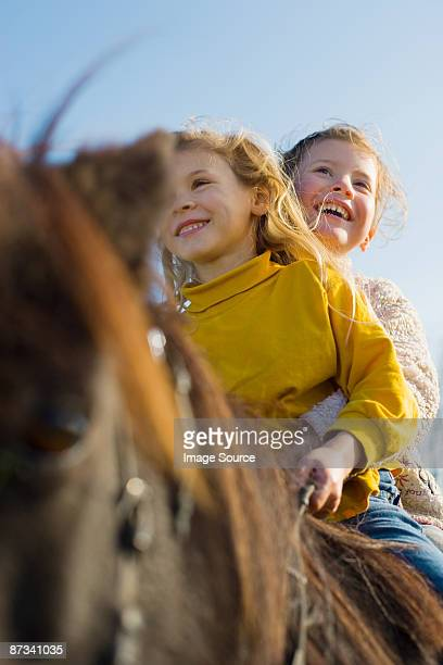 Girls riding a shetland pony