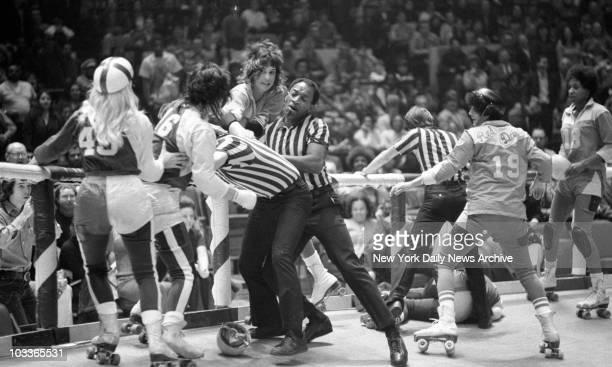 Girls roller derby fight at Madison Square Garden 2nd November 1971