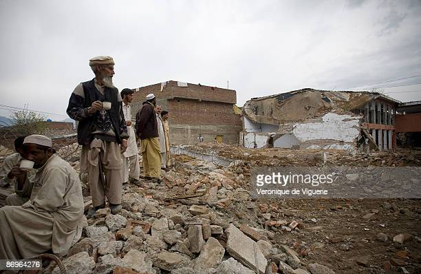 A girls' school that was bombed and destroyed by Taliban militants opposed to female education pictured on March 31 2009 in Mingora Swat Valley...