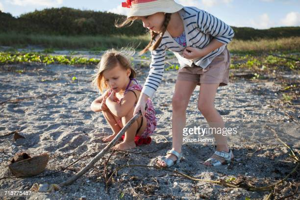 girls searching for shells on beach, blowing rocks preserve, jupiter, florida, usa - jupiter island florida stock photos and pictures