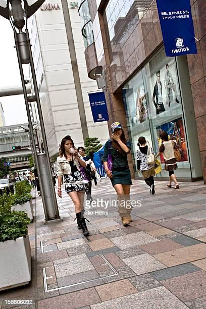 Girls shopping in Tenjin district downtown Fukuoka city