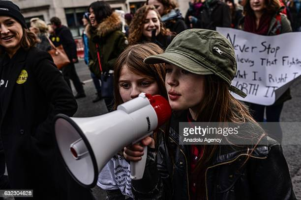 Girls shouts slogans during a protest held in solidarity with the Washington DC Women's March in Dublin Ireland on January 21 2017