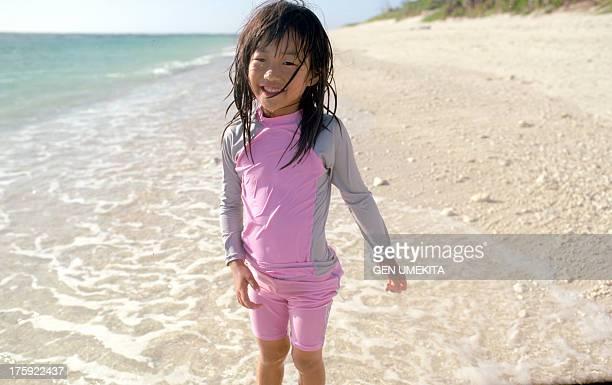girl's smile on the beach