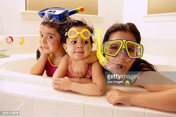 Girls Snorkeling in Bathtub
