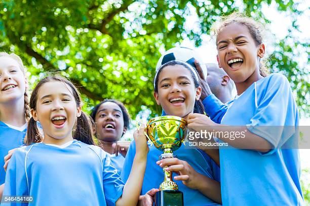 Girls soccer team celebrates victory