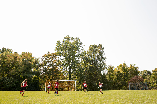 Girls soccer team practicing on field on sunny day - gettyimageskorea