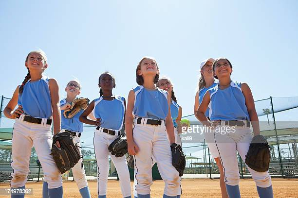 girls softball team with coach - softball stock pictures, royalty-free photos & images