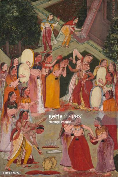 Girls Spraying Each Other at Holi, circa 1640-1650. The antics of Holi, the festival of spring, are in full tilt in this scene that takes place in...