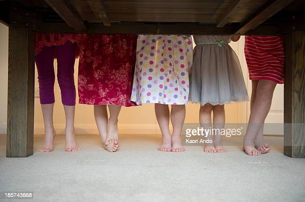 girls standing together with barefeet in a row,  low section - cobham surrey stock pictures, royalty-free photos & images
