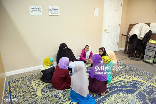 Girls study the Koran at the Rohingya Cultural Center of Chicago on January 11 2019 in Chicago Illinois Chicago has one of the largest number of...