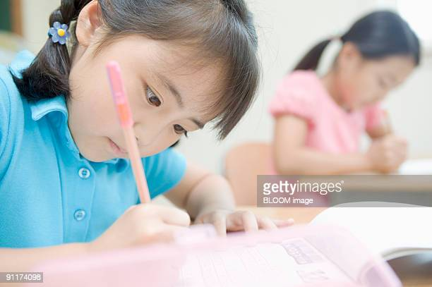 Girls studying at desks in classroom