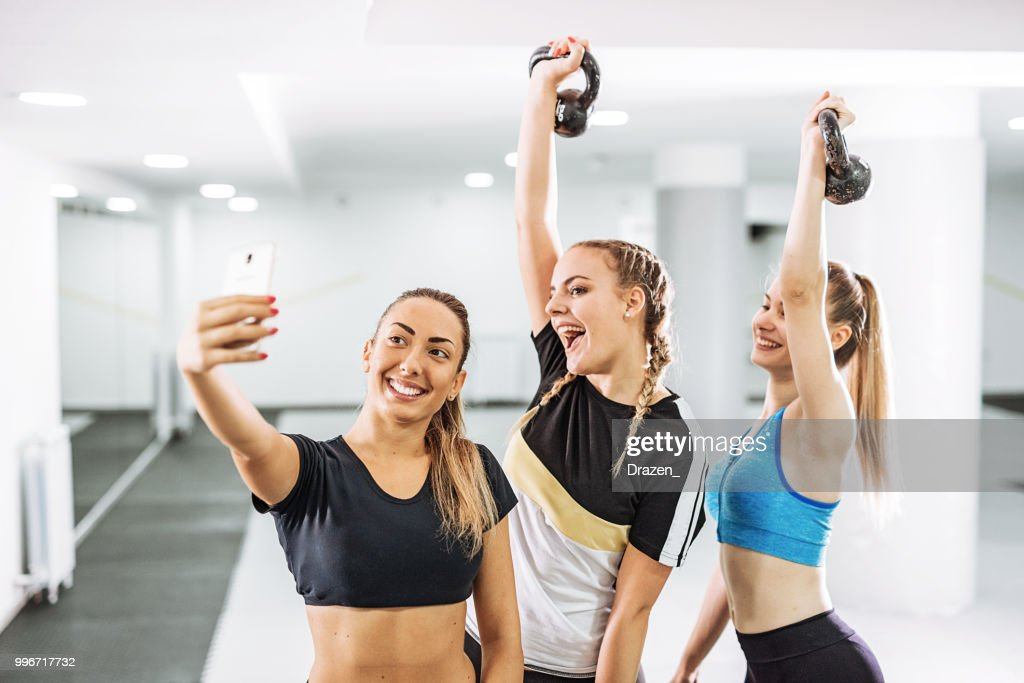 Girls Taking Selfie After Cross Training High-Res Stock Photo - Getty Images