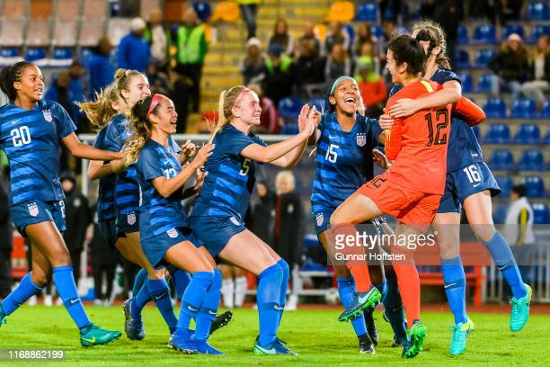 Girl's team cheering after winning 45 after penalty shootout during the U17 Girl's UEFA Tournament match between Germany U17 Girl's and USA U17...