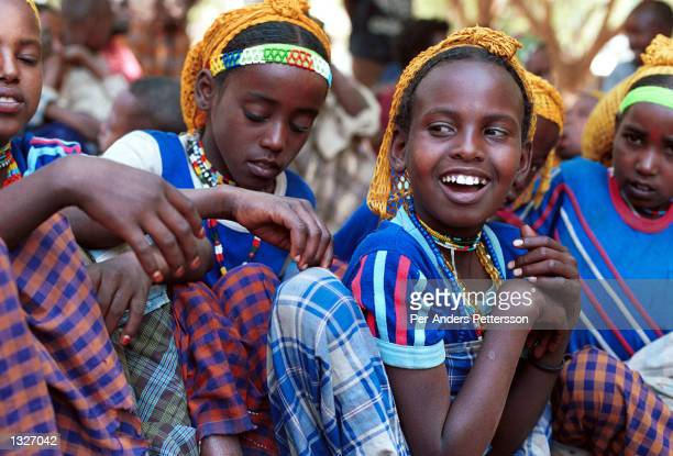 Girls under the age of 9 who have not been circumcised sit together April 8 2001 in the Erer Valley in eastern Ethiopia Villagers in the Muslim area...