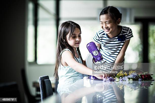 girls using microscope - long stem flowers stock pictures, royalty-free photos & images