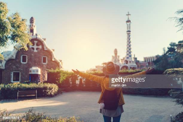 girl's vacation in barcelona - arms outstretched stock pictures, royalty-free photos & images