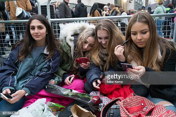 Girls waiting to see their favourite movie stars outside the BAFTA Awards ceremony in London, England, United Kingdom. Elena, Izzy, Bella and Azzurra...