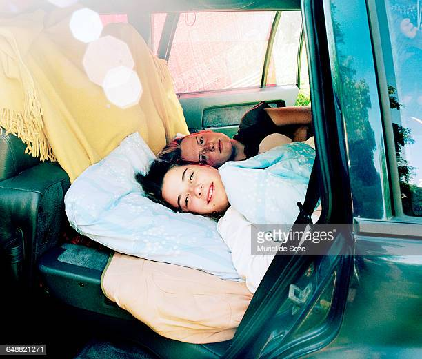 Girls waking up in car